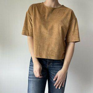 Uniqlo T Top Faux Suede Scoop Neck Short Sleeve S
